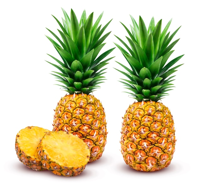 Whole and sliced pineapple isolated on white background clipping path