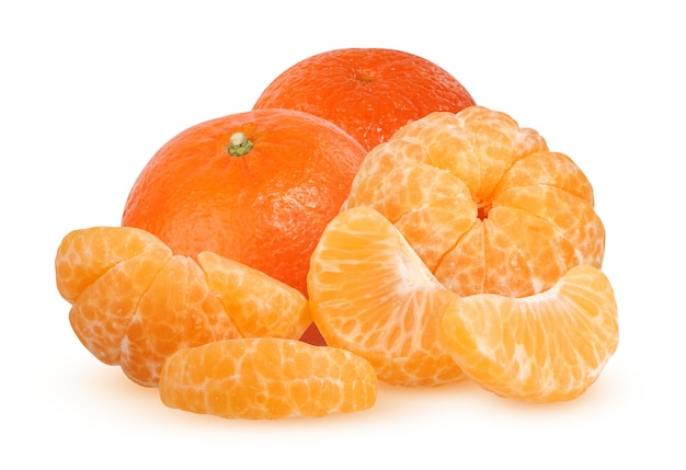 Whole and slices of peeled tangerine isolated on white background with shadow. citrus fruit.