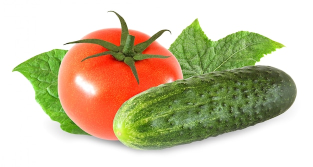 Whole tomato and cucumber with leaf isolated on white background with clipping path