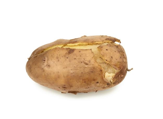 흰색 절연 전체 unpeeled 삶은 감자