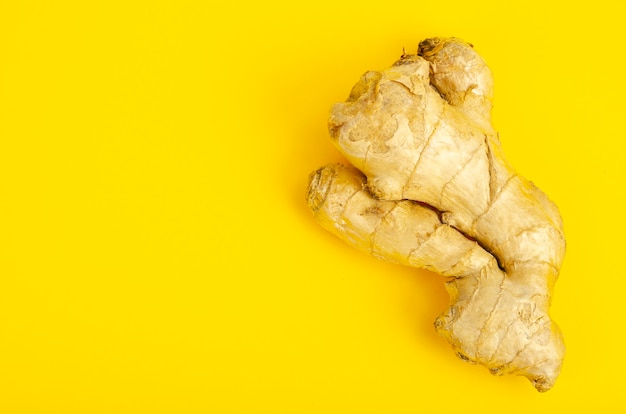 Whole unpeeled ginger root top view