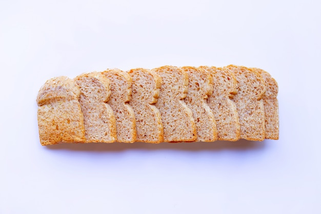 Whole wheat bread  isolated on white.