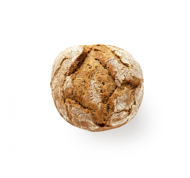 Whole wheat fresh baked bread bun isolated on white background