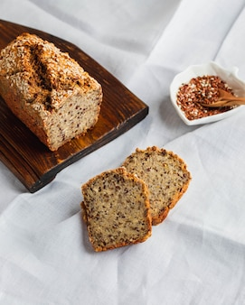 Whole wheat gluten free bread with flax seads sunflower chia seads sesame  top view with copy space