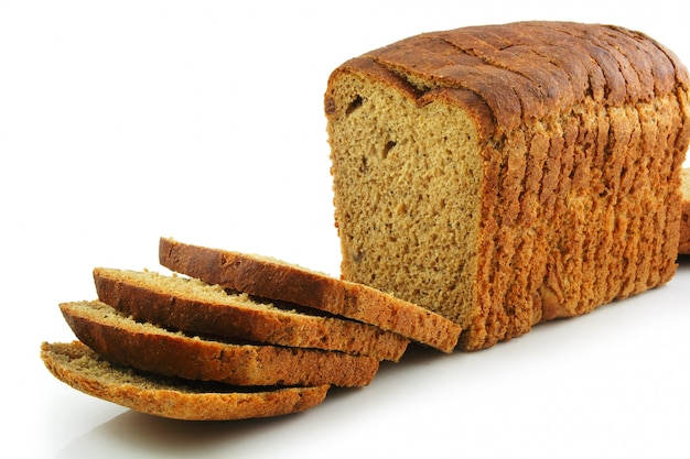 Whole wheat sliced bread isolated on white background