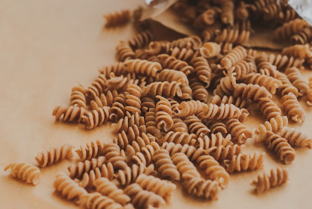 Wholemeal pasta fusilli from organic whole grain spelt
