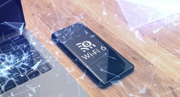 Wi fi 6 logo on smartphone with laptop and shattered glass