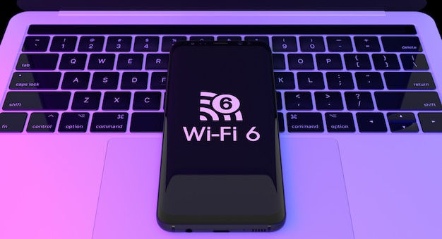Wi fi 6 logo on smartphone with laptop