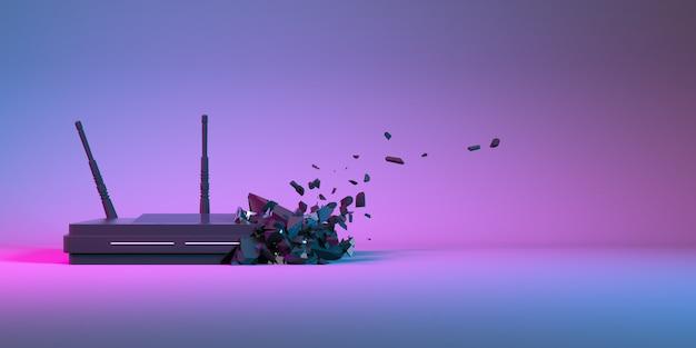 小さな部品に崩壊するネオンライトのwi-fiルーター