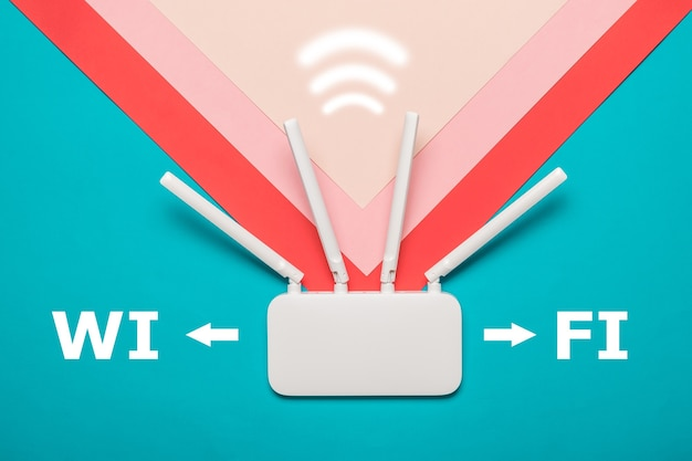 Wi-fi router with a signal icon on a multi-colored background. organization of wireless networks.