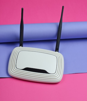 Wi-fi router on wrapped paper