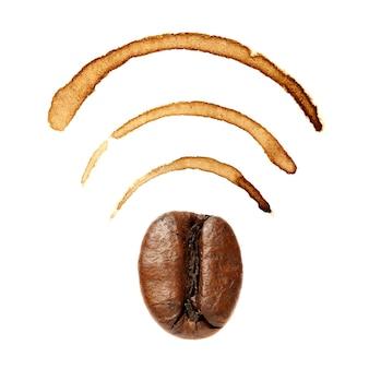 커피 원두와 얼룩으로 wi-fi 표시
