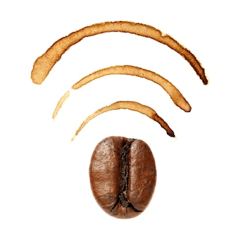 Wi-fi sign by coffee bean and stains