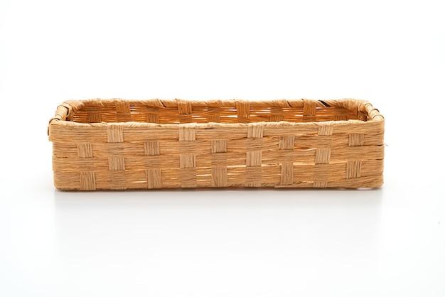 Wicker basket on white table