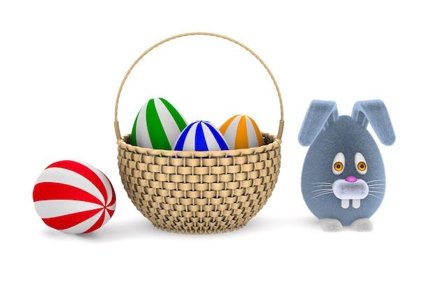 白地に卵とウサギの籐のバスケット