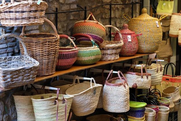 Wicker baskets in market stall