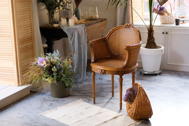 Wicker chair and basket in a room