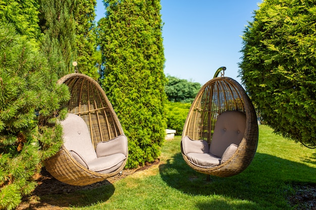 庭にある籐の椅子の巣
