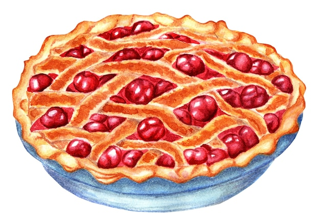 Wicker cherry pie golden with a crispy crust lots of juicy cherries watercolor isolated on white