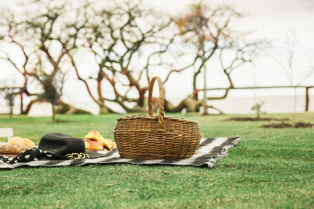 Wicker picnic basket with hat and baked bread on blanket over the green grass
