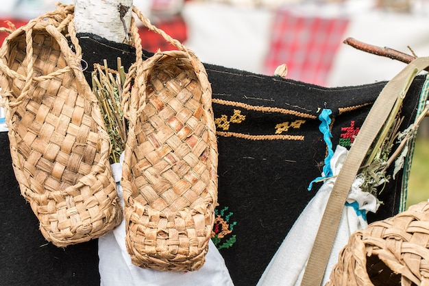 The wicker shoes of the rural population of russia