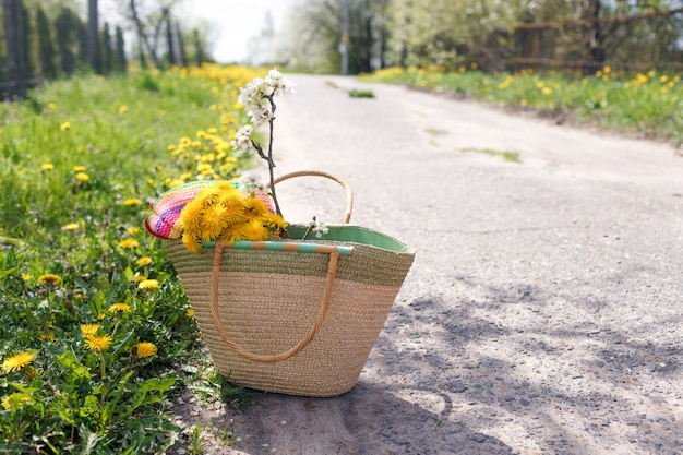 A wicker straw bag with a bouquet of dandelions and a branch of an apple tree stands on the road.
