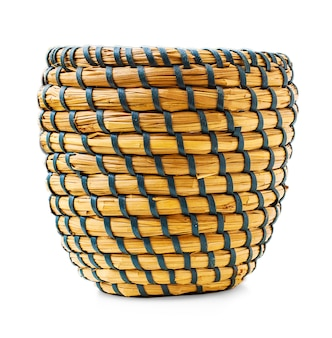 Wicker vase on a white background