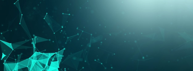 Wide abstract blue plexus technology network connects futuristic banner background