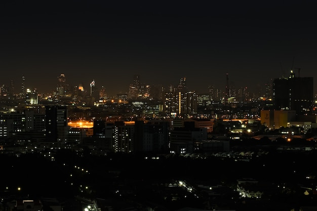 Wide angle of city scape at night scene Premium Photo