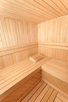 Wide angle photo of wooden sauna