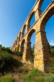 Wide angle shot of aqueduct  in tarragona
