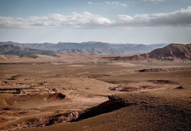Wide angle shot of large areas of arid land and mountains