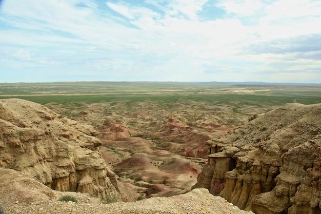 Colpo grandangolare di un ampio paesaggio di rocce sotto un cielo velato