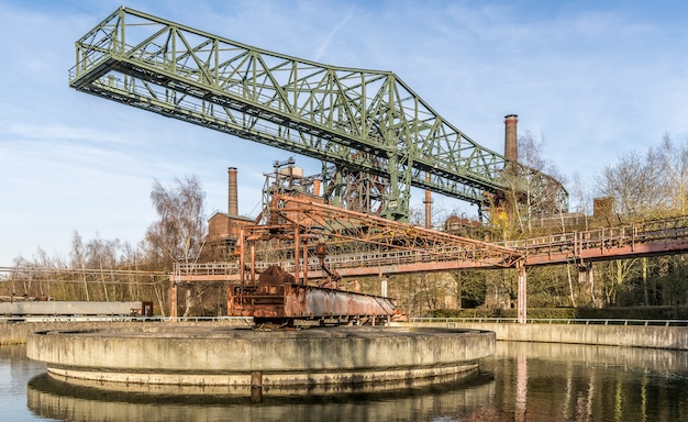 Wide angle shot of a part of the landschaftspark in duisburg,germany during daytime