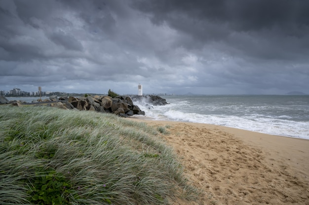 Wide angle shot of the sunshine coast of queensland, australia under a clouded sky