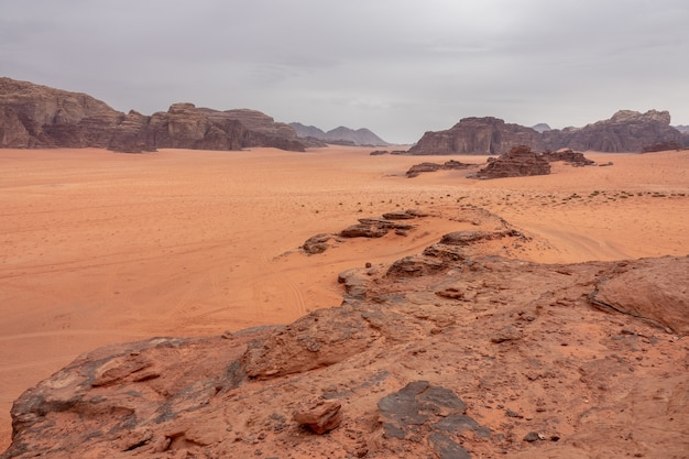 Wide angle shot of wadi rum protected area in jordan during daytime