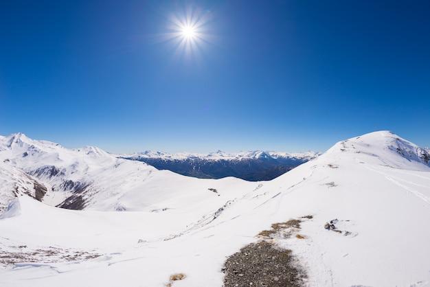Wide angle view of a ski resort in winter season.
