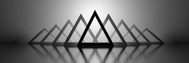 단색 흑백 색상의 반사 표면에 많은 삼각형 기하학적 모양이있는 넓은 배너. 3d 그림.
