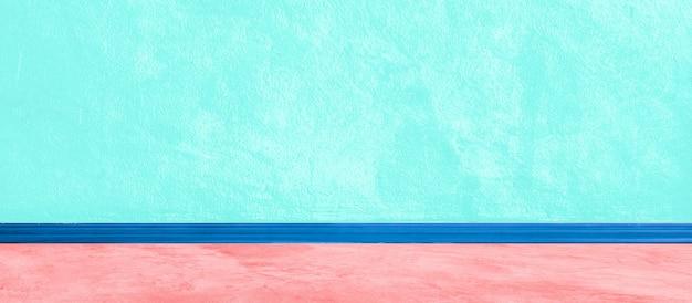 Wide blue aqua wall concrete painted texture background for banner plaster paint rough with vignette