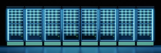 グロー効果のある暗い部屋のサーバーコンテナ行の広い画像。 3dイラストのレンダリング。