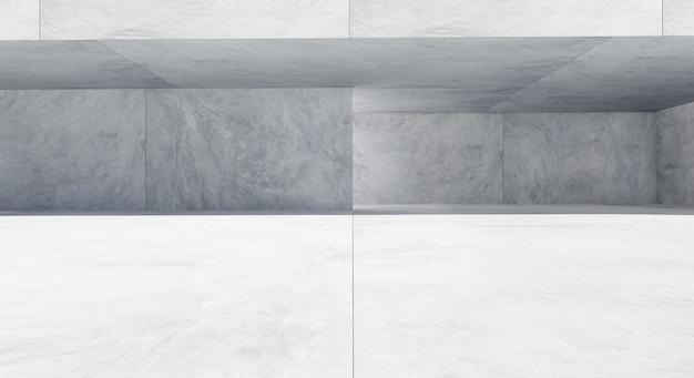 사각형 모양의 콘크리트로 만들어진 빈 바닥이있는 넓고 현대적인 건물입니다. 3d 렌더링.