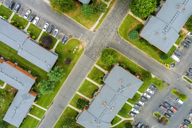 Wide panorama, aerial view with tall buildings, in the beautiful residential quarters and green streets nj usa