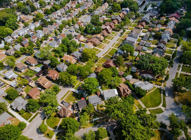 Wide panorama, aerial view with tall buildings, in the beautiful residential quarters and green streets parma oh usa