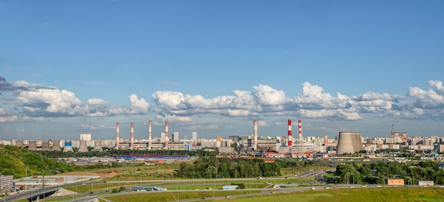 Wide panorama of the industrial district of moscow