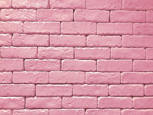 Wide pink brick wall panoramic background texture. home and office design backdrop