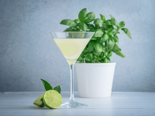 Wide shot of lime martini in a cocktail glass near lime and mint and a basil plant in a white pot
