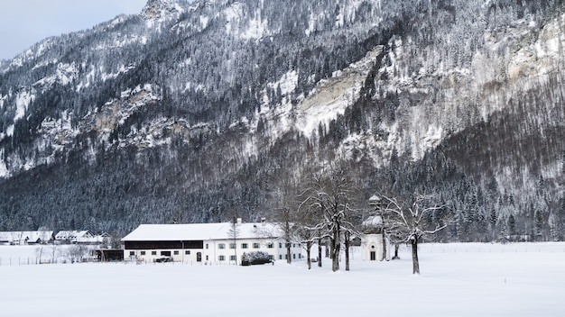 Wide shot of a white house surrounded by trees and mountains covered in snow