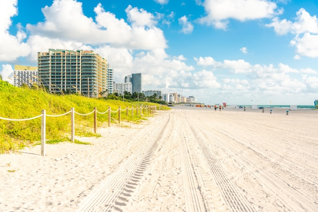 Wide south beach in miami, florida with grass and buildings