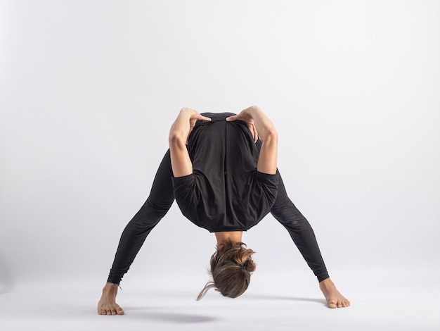 Wide stance forwardyoga posture asana