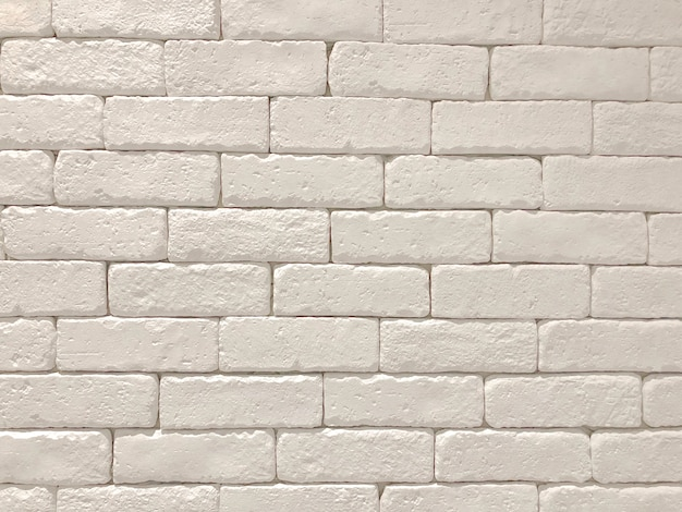 Wide white brick wall panoramic background texture. home and office design backdrop